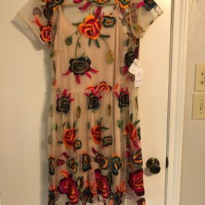 Neiman Marcus Last Call Embroidered Dress